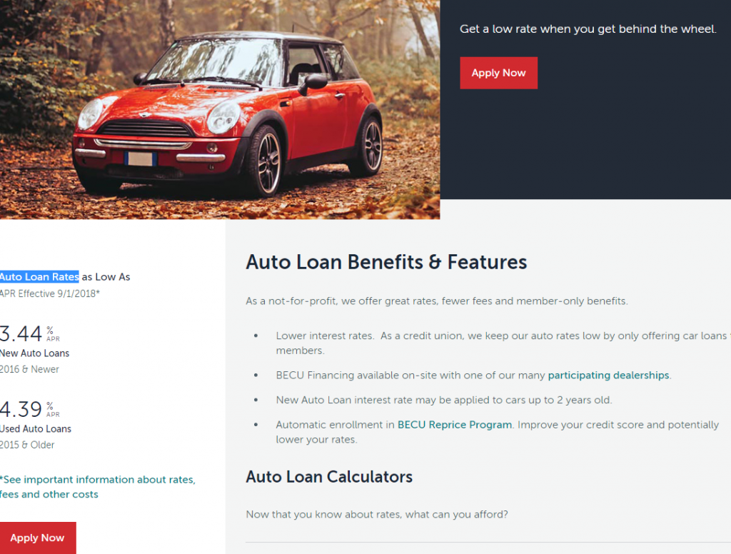 Becu Auto Loan Rates And Calculator Online Banking Information Guide